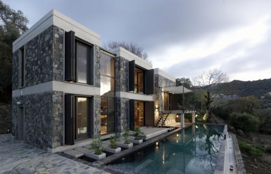 Espectacular casa de piedra for Casas minimalistas con piedra
